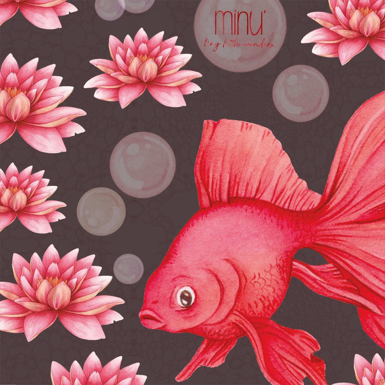 minu goldfish waterlily watercolors