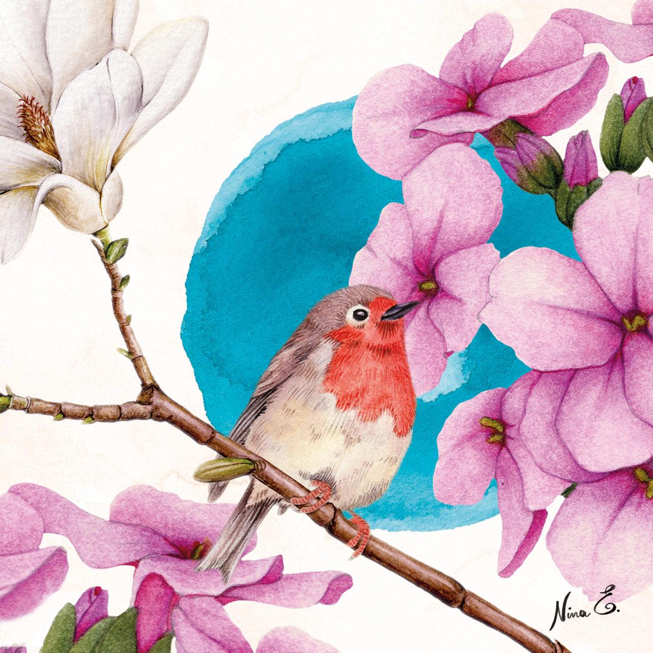 YUME Bird on branch watercolor