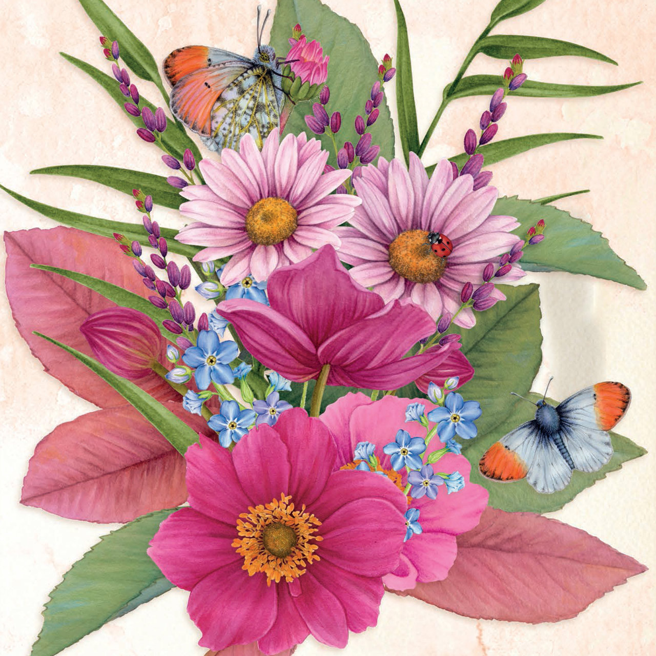 yume daisies and butterfly bouquet