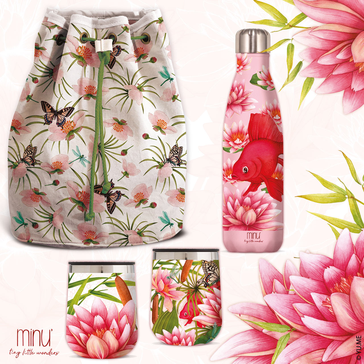 yume nature bags and water bottles
