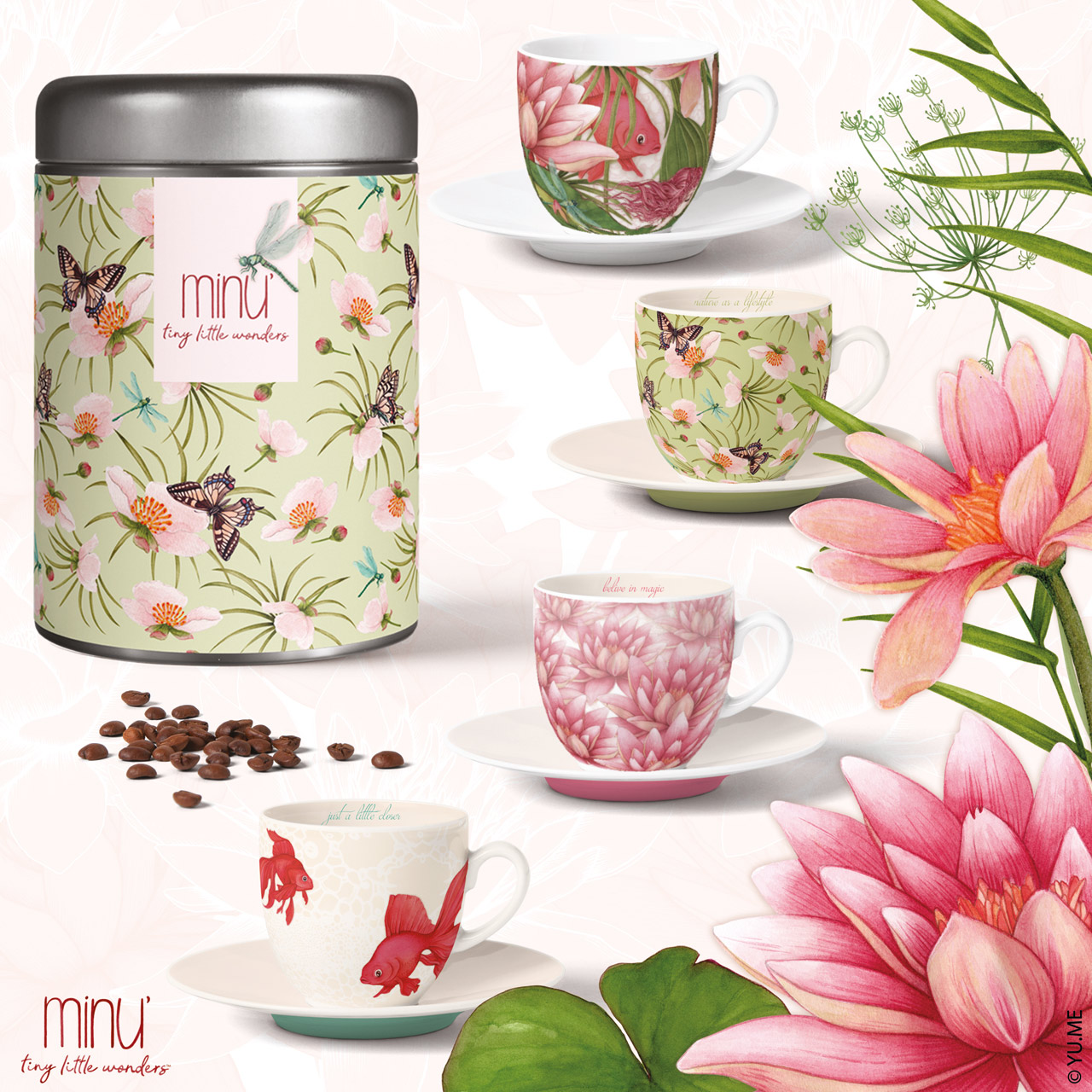 yu.me nature coffee cups and tins